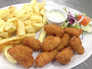 Whitby Wholetail Scampi with Chips